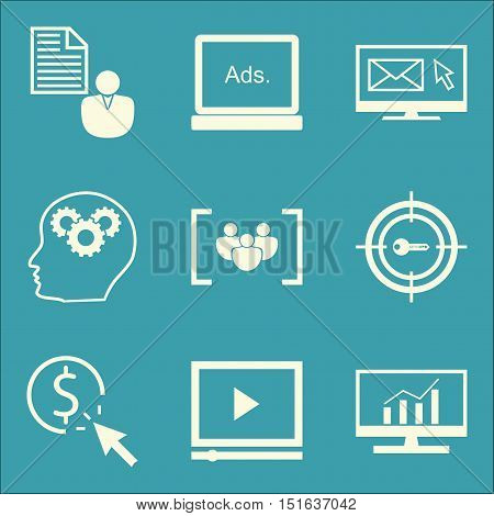 Set Of Seo, Marketing And Advertising Icons On Client Brief, Display Advertising, Video Advertising