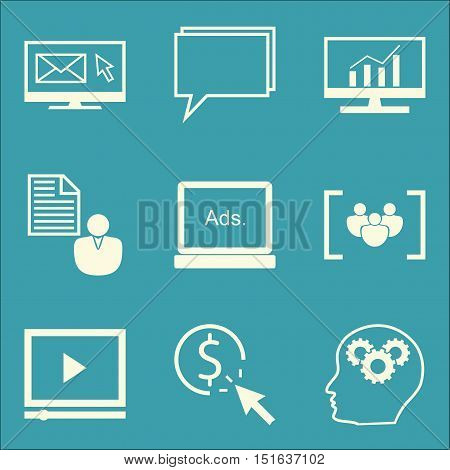 Set Of Seo, Marketing And Advertising Icons On Creativity, Video Advertising, Comprehensive Analytic