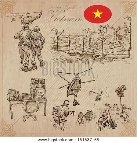 Travel series VIETNAM - WAR. Socialist Republic of Vietnam - Pictures of war conflict. Vector collection of an hand drawn illustrations set. Pack of hand drawn illustrations.