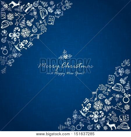 Silver Christmas elements on blue background, holiday decorations with Christmas tree, balls, bells, angel, Santa hat, sock, gift box, holly berries, candy cane, candle, snowflakes, snowman, deer and inscriptions Merry Christmas and Happy New Year, illust