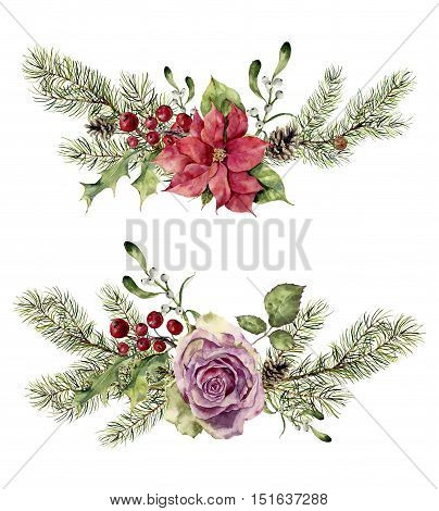 Watercolor winter floral elements isolated on white background. Vintage style set with christmas tree branches, rose, holly, mistletoe, poinsettia flower, leaves. Flower hand painted design.