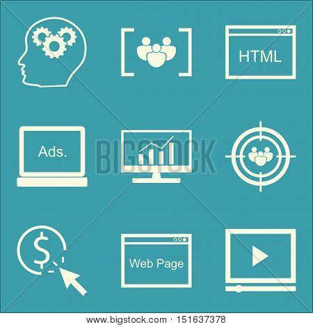 Set Of Seo, Marketing And Advertising Icons On Html Code, Video Advertising, Focus Group And More. P