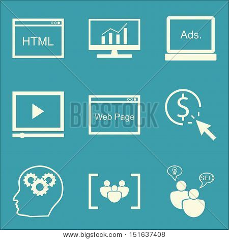 Set Of Seo, Marketing And Advertising Icons On Video Advertising, Comprehensive Analytics, Pay Per C