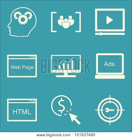 Set Of Seo, Marketing And Advertising Icons On Target Keywords, Creativity, Html Code And More. Prem