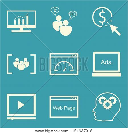 Set Of Seo, Marketing And Advertising Icons On Page Speed, Video Advertising, Comprehensive Analytic