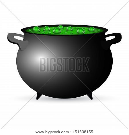 Postcard invitation to the Halloween party. Pot witches potion, vector illustration