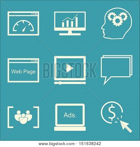 Set Of Seo, Marketing And Advertising Icons On Display Advertising, Page Speed, Comprehensive Analyt