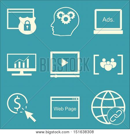 Set Of Seo, Marketing And Advertising Icons On Focus Group, Comprehensive Analytics, Website Protect