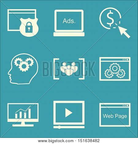 Set Of Seo, Marketing And Advertising Icons On Display Advertising, Website Optimization, Comprehens