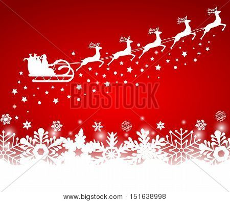 Santa Claus in sled rides in the sled reindeer on a red background with snowflakes and glitter