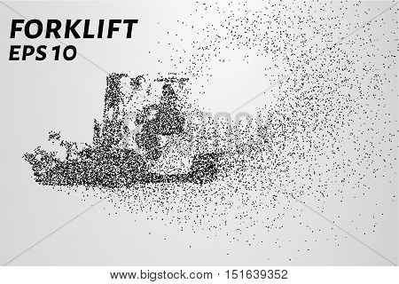 Forklift of the particles. The forklift consists of small circles. Vector illustration