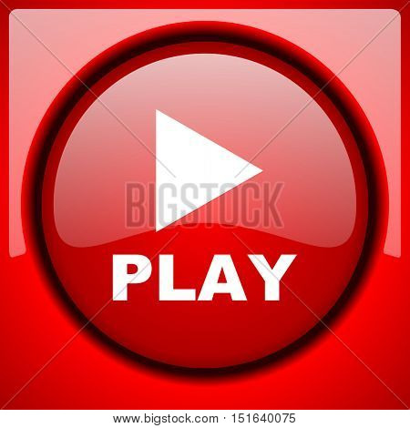 play red icon plastic glossy button