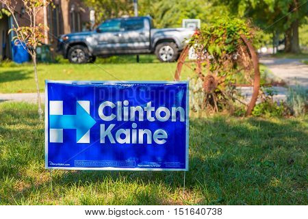 Lexington KY USA - October 6 2016: Clinton Kaine yard sign at residential street for Presidential candidate Hillary Clinton 2016.