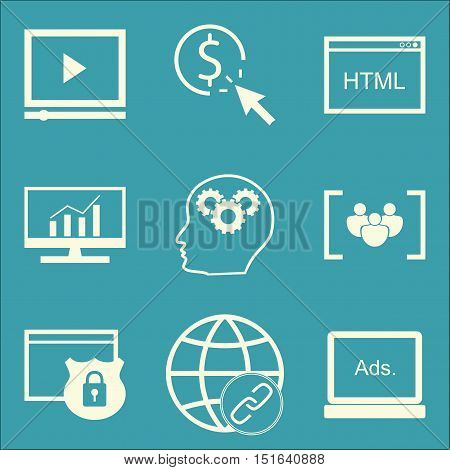 Set Of Seo, Marketing And Advertising Icons On Creativity, Comprehensive Analytics, Pay Per Click An