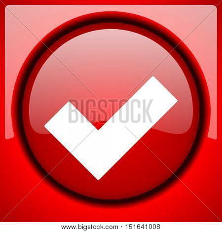 accept red icon plastic glossy button