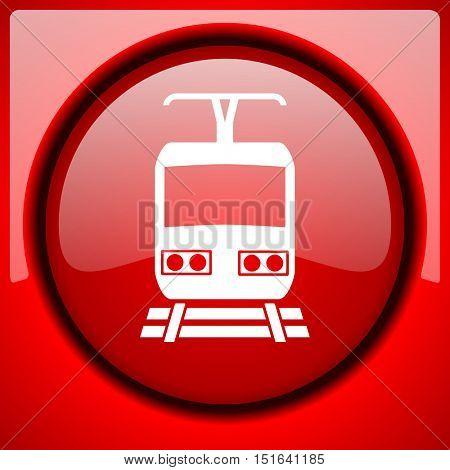 train red icon plastic glossy button