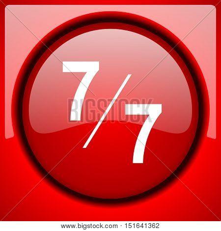 7 per 7 red icon plastic glossy button