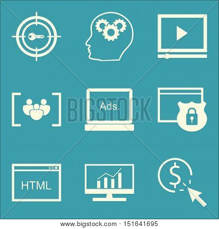 Set Of Seo, Marketing And Advertising Icons On Comprehensive Analytics, Display Advertising, Pay Per