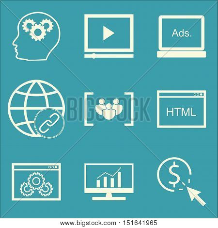 Set Of Seo, Marketing And Advertising Icons On Comprehensive Analytics, Display Advertising, Website