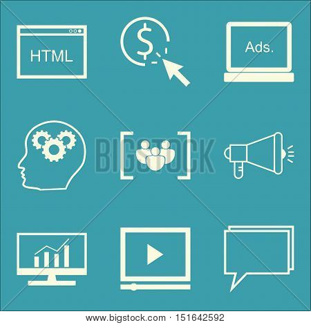 Set Of Seo, Marketing And Advertising Icons On Viral Marketing, Focus Group, Comprehensive Analytics