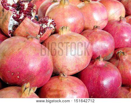 Pomegranates on bazaar in Tel Aviv IsraelJanuary 12 2011