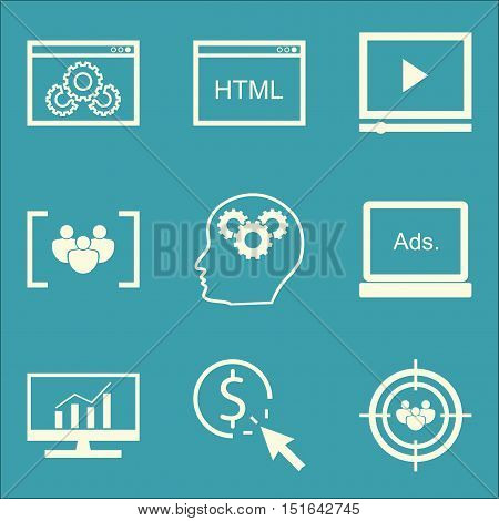 Set Of Seo, Marketing And Advertising Icons On Focus Group, Html Code, Comprehensive Analytics And M
