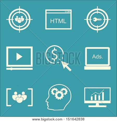 Set Of Seo, Marketing And Advertising Icons On Target Keywords, Display Advertising, Video Advertisi