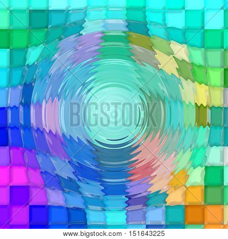 Abstract coloring background of the horizon gradient with visual mosaic, pinch and zigzag effects