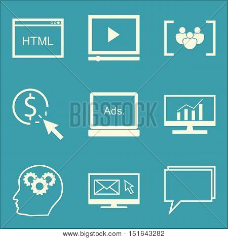 Set Of Seo, Marketing And Advertising Icons On Online Consulting, Comprehensive Analytics, Html Code