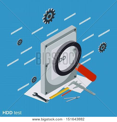 Hard disk test flat isometric vector concept illustration