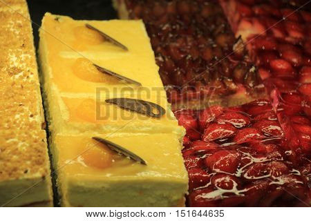 Fresh confectionery various sorts with fresh fruit