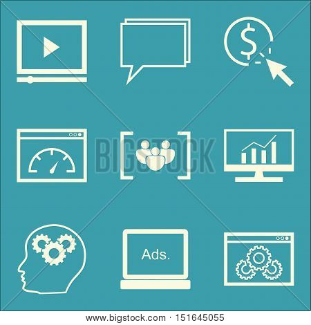 Set Of Seo, Marketing And Advertising Icons On Comprehensive Analytics, Pay Per Click, Video Adverti