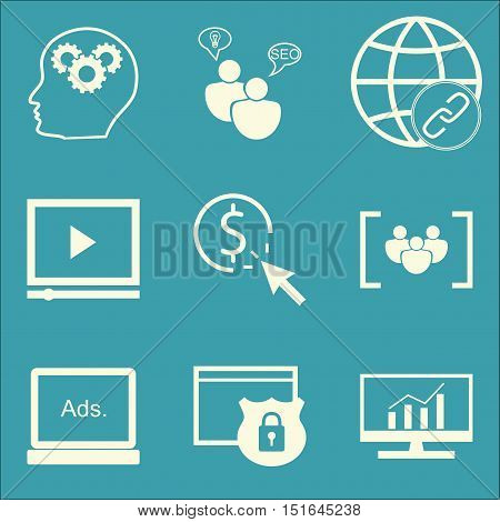 Set Of Seo, Marketing And Advertising Icons On Link Building, Creativity, Comprehensive Analytics An