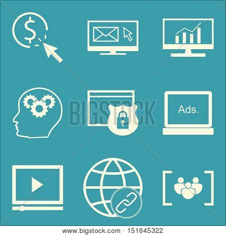 Set Of Seo, Marketing And Advertising Icons On Video Advertising, Link Building, Comprehensive Analy