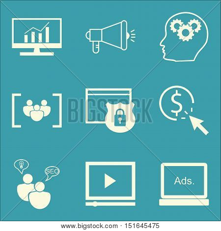 Set Of Seo, Marketing And Advertising Icons On Video Advertising, Creativity, Comprehensive Analytic