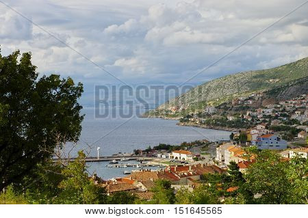 Senj Croatia: a small town in northern Croatia located on the Adriatic coast. The view of the city and harbor from the hill on which stands the fortress Nehaj.