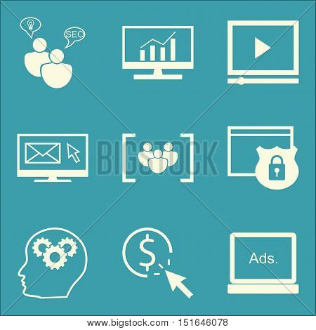 Set Of Seo, Marketing And Advertising Icons On Comprehensive Analytics, Website Protection, Display