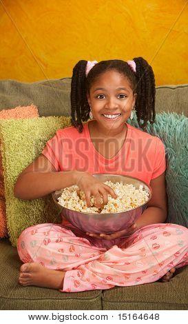 Little Kid Eats Popcorn