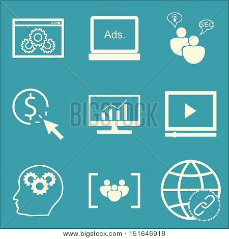 Set Of Seo, Marketing And Advertising Icons On Video Advertising, Website Optimization, Comprehensiv