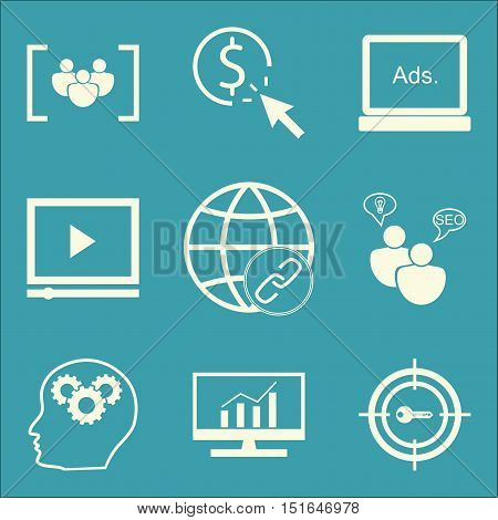 Set Of Seo, Marketing And Advertising Icons On Focus Group, Target Keywords, Comprehensive Analytics