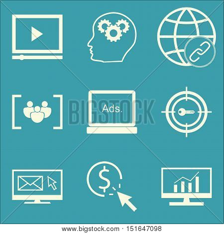 Set Of Seo, Marketing And Advertising Icons On Comprehensive Analytics, Target Keywords, Pay Per Cli