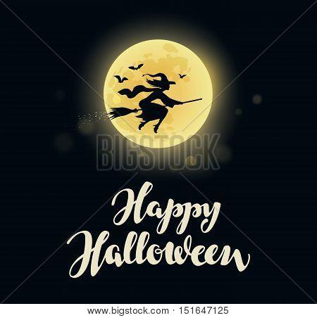 Halloween. Full moon witch flying on broom. Vector