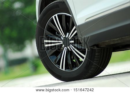 tire and alloy wheel on this performance car
