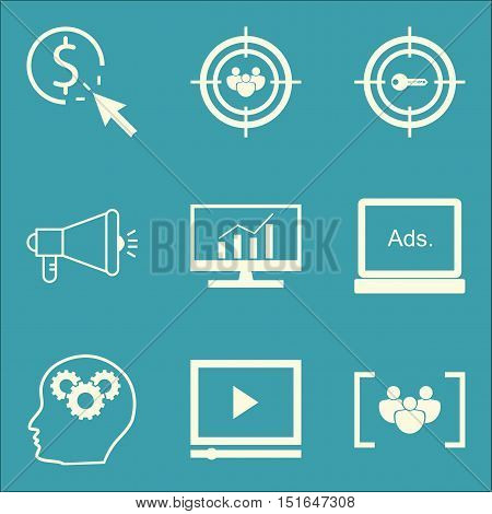 Set Of Seo, Marketing And Advertising Icons On Audience Targeting, Comprehensive Analytics, Viral Ma