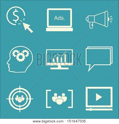 Set Of Seo, Marketing And Advertising Icons On Pay Per Click, Comprehensive Analytics, Audience Targ