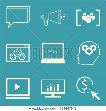 Set Of Seo, Marketing And Advertising Icons On Comprehensive Analytics, Website Optimization, Online