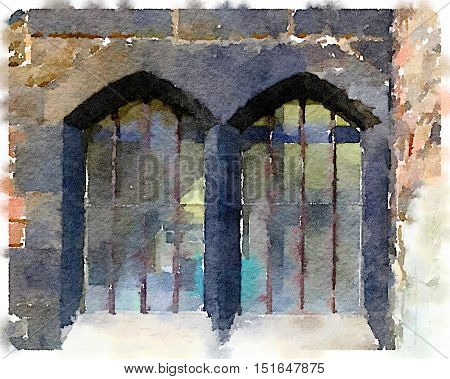 Digital watercolor painting of an old double window in the Cathedral in Gloucester in the UK. The windows are surrounded by black bricks and have bars.