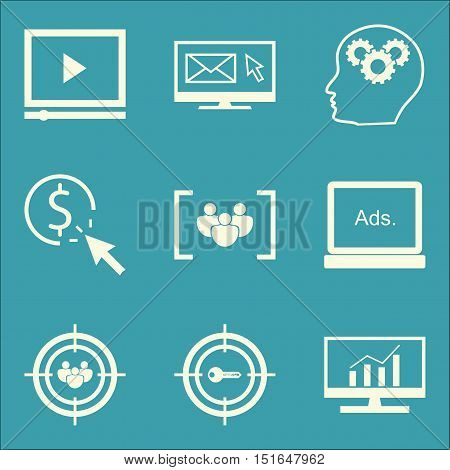 Set Of Seo, Marketing And Advertising Icons On Creativity, Focus Group, Comprehensive Analytics And