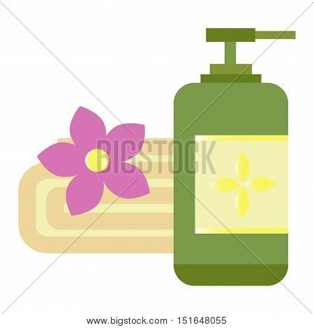 Rustic setting with natural olive soap and cream bottle. Natural cosmetic oil and natural cosmetic body cream vector. Natural cosmetic beauty treatment organic wellness bowl massage products.
