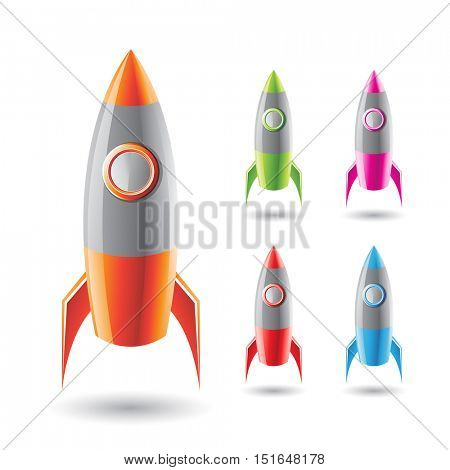 Illustration of Colorful Rockets with Grey Body isolated on a White Background
